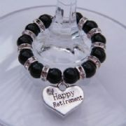 Happy Retirement Wine Glass Charm - Full Sparkle Style
